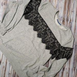 Apt. 9 Gray Laced Sweatshirt